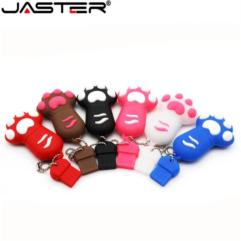 JASTER  The New Cute Cat Paw USB Flash Drive USB 2.0 Pen Drive Minions Memory Stick Pendrive 4GB 8GB 16GB 32GB 64GB Gift