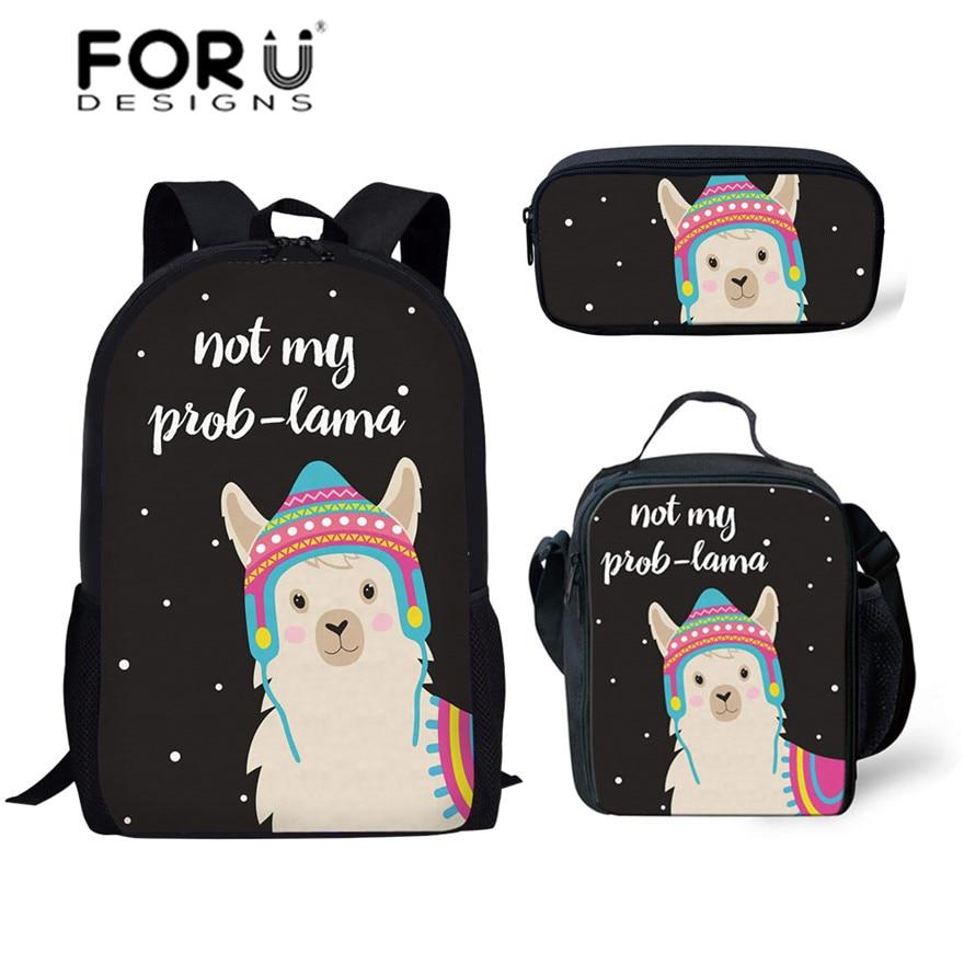 FORUDESIGNS Cute Animal Alpaca Printing School Bags For Children 3pcs/set Schoolbag Kids Shoulder Bags Girls Mochila Escolar