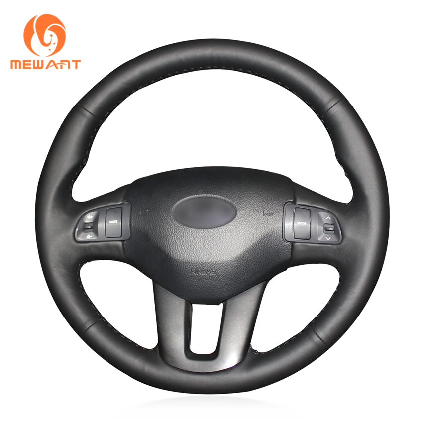 MEWANT Black Genuine Leather Car Steering Wheel Cover for Kia Sportage 3 2011-2014 Kia Ceed Cee'd 2010-2012 цена