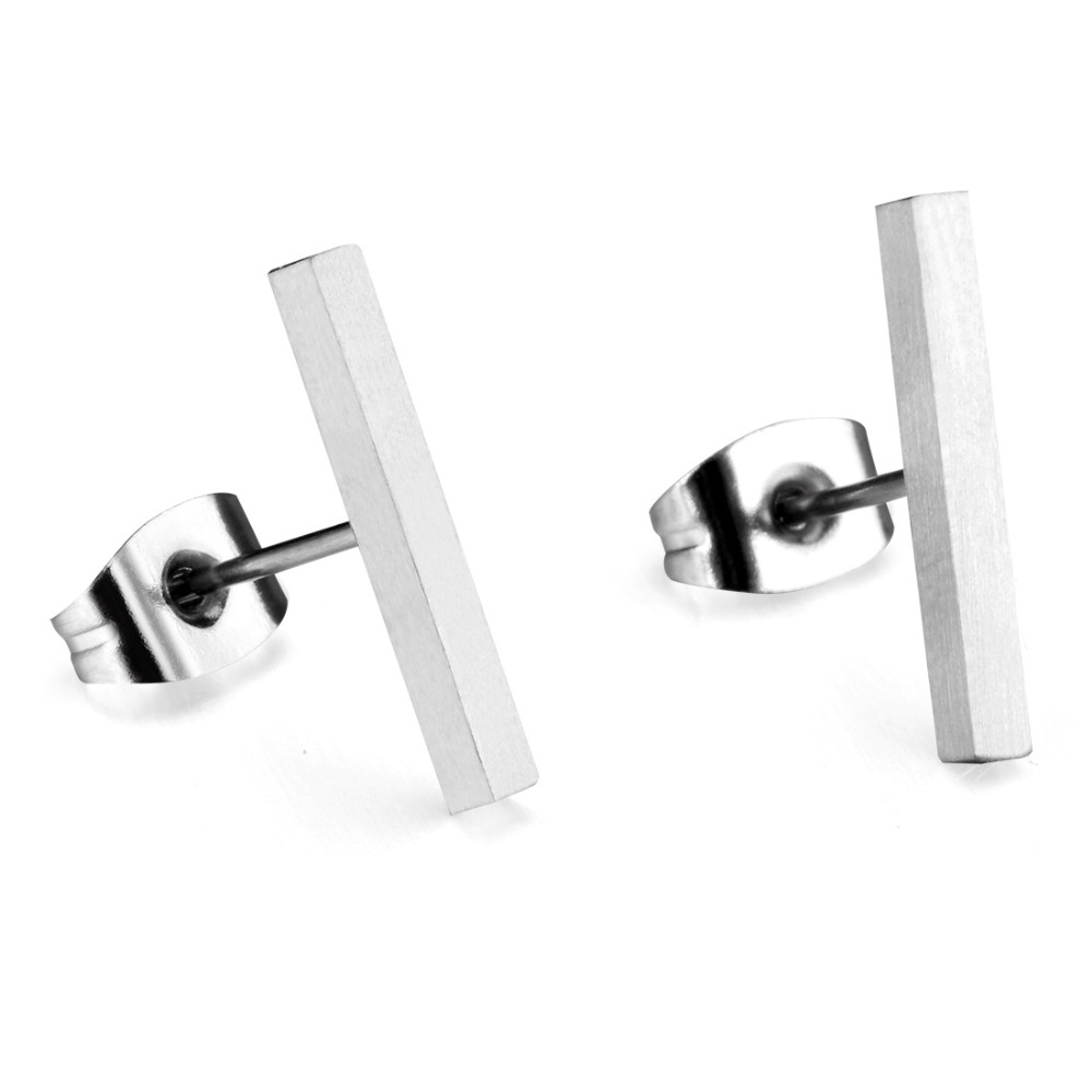 En gros 20 paires pur titane Bar boucles d'oreilles pour fille argent géométrique Long carré Stud boucle d'oreille 5mm 10mm 15mm-in Boucles d'oreilles from Bijoux et Accessoires    3