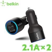 ODMÓWIĆ FAŁSZYWE! Oryginalny Universal Mobile Phone Dual USB Ładowarka Samochodowa Belkin (2 Port, 20 W/2.1A * 2) dla iPhone 7 6 s z Pakietem F8J109