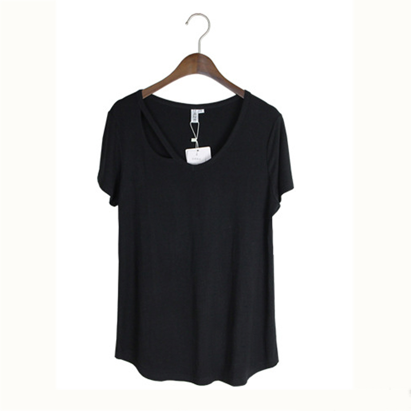 Nice Summer Nice Style Modal v-neck Short Sleeves Solid Color Loose Women Shirts T WoMen Clothing
