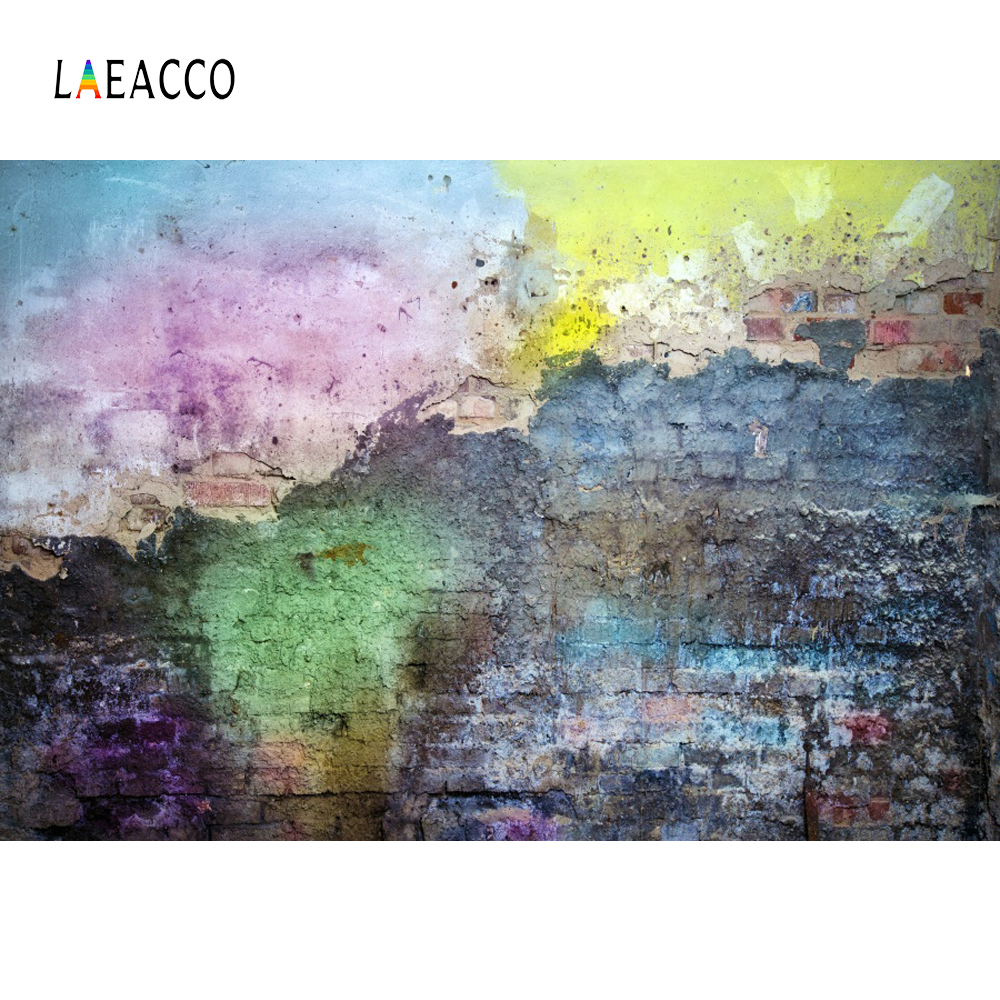 Laeacco Graffiti Brick Backdrops Wall Grunge Party Decor Baby Portrait Photographic Backgrounds Photocall Photo Studio