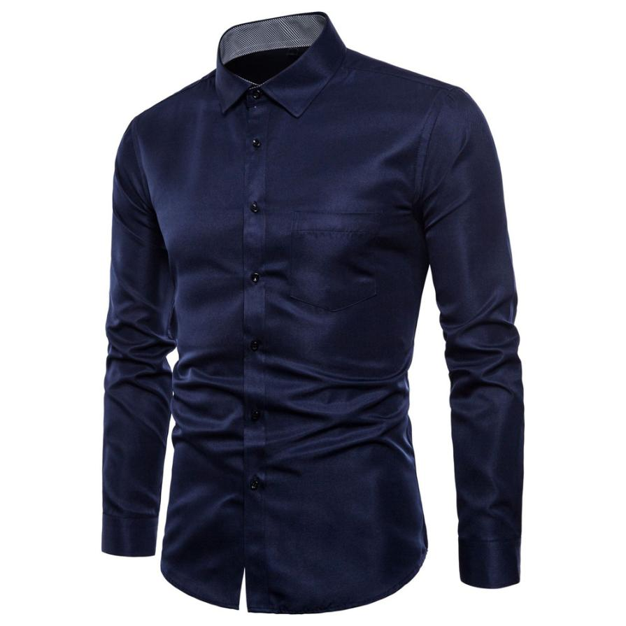JAYCOSIN Mens Long Sleeve Oxford Formal Casual Suits Slim Fit Tee  Shirts Blouse Top  z0807 8.23