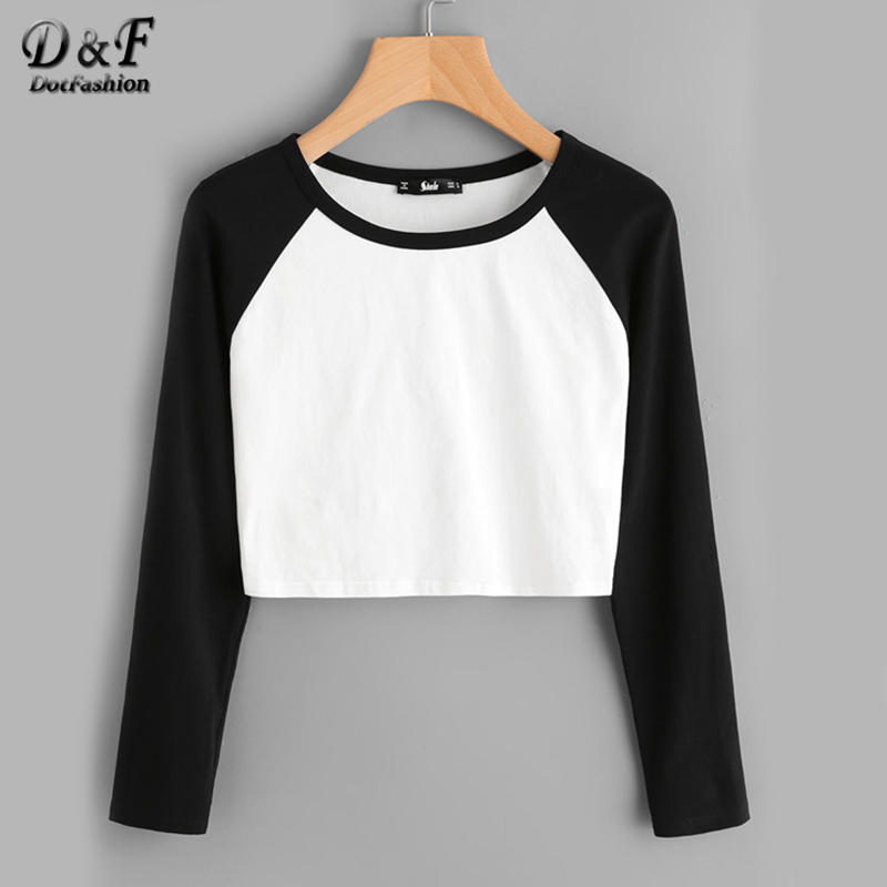 Dotfashion Two Tone Raglan Sleeve Crop Tee Shirt 2019 Black And White Round Neck Top Autumn Long Sleeve Plain T Shirt