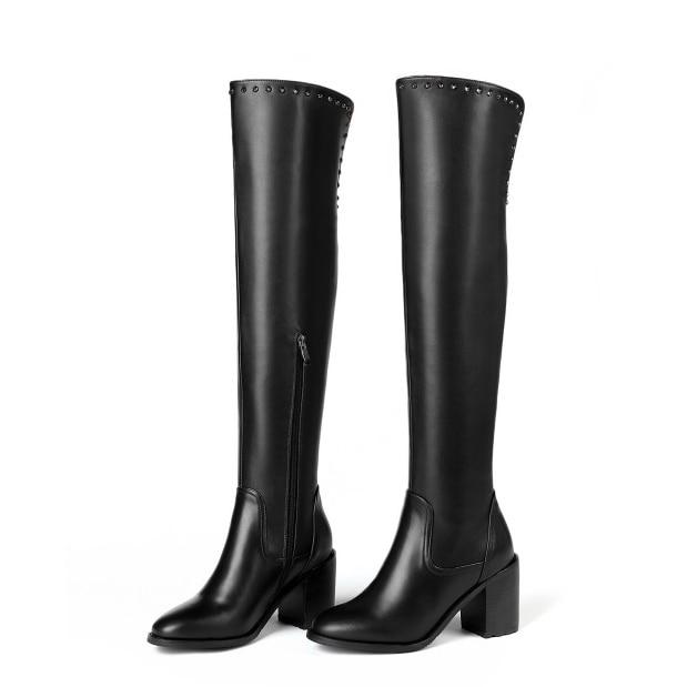 Sexy Nous Pointu D0032 Cuir Black Yifsion Parti Mode Carrés Talons Nouvelles Sur 13 En De Taille Chaussures Bottes Bout Genou Noir Femmes 3 Le wwBvqU
