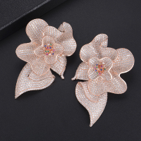 missvikki Shiny Cubic Zirconia Brincos Jewelry Enamel Flower Stud Earrings For Women Appointment Wedding Party Jewelry