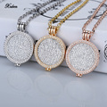 New 35mm coin holder necklace pendant fit my 33mm coins white crystal Christmas woman gift  fashion jewelry locket long chain