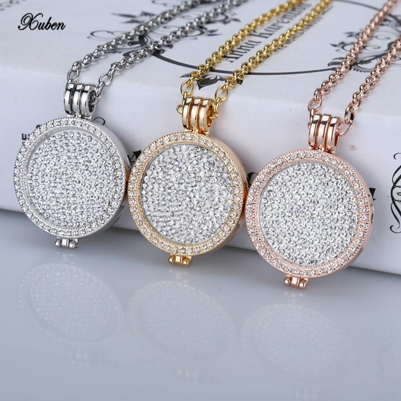 Prix pour Nouveau 35mm porte-monnaie collier pendentif fit mon 33mm pièces blanc cristal De Noël femme cadeau de mode bijoux 2017 à longue chaîne