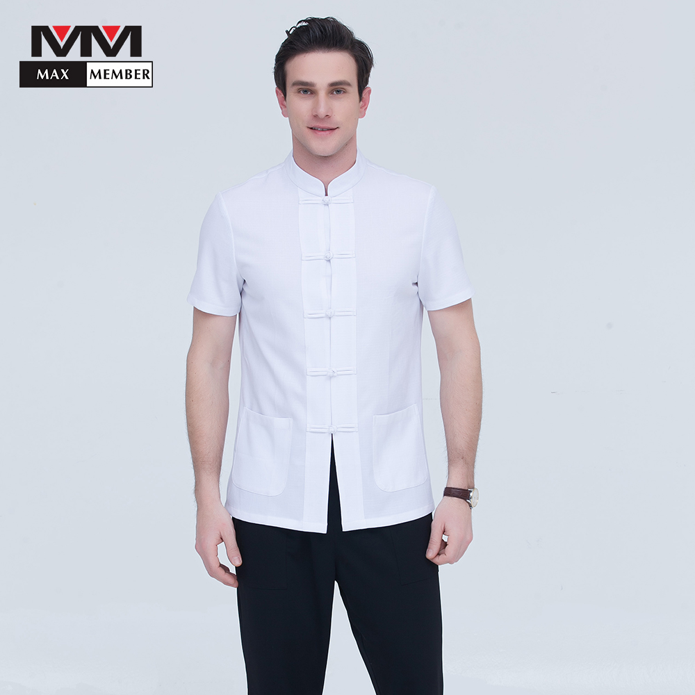 Pure Color Summer Kitchen Cook Short Sleeve Casual Jacket For Top Retaurant Master Chef Hotel Catering Waiter Workwear Uniforms