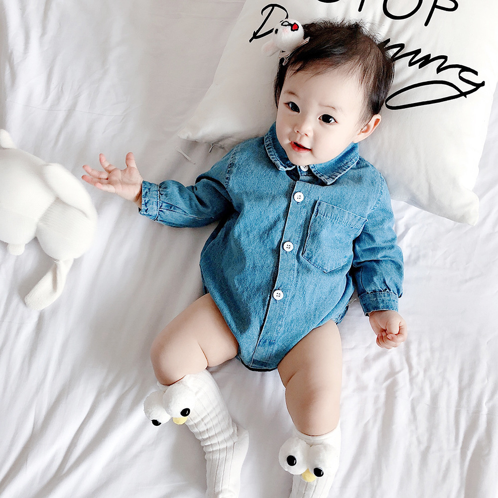 Baby   Romper   Soft Denim Newborn Baby Clothes Long Sleeve Baby Girl Boy   Romper   Infant New Born Baby Jumpsuit For Boy Overalls