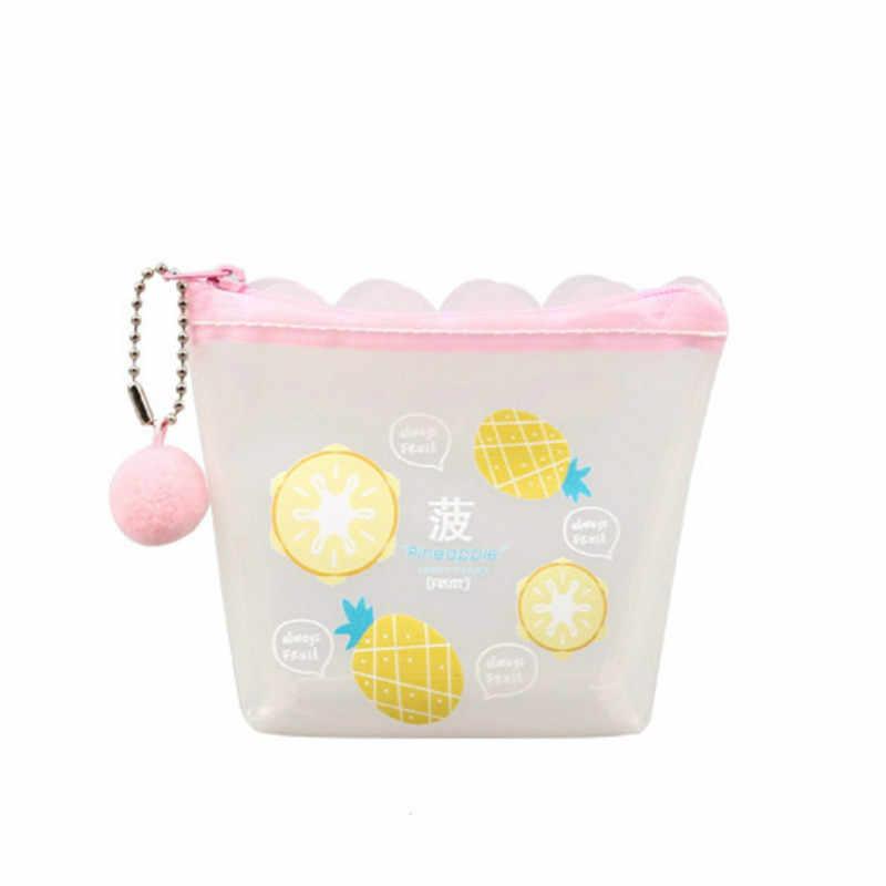 Dropshipping Mädchen Transparent Geldbörse Lolita Mini Brieftasche Kawaii Katze Einhorn Geld Tasche Frauen Plüsch Ball Anhänger Kleine Geldbörse