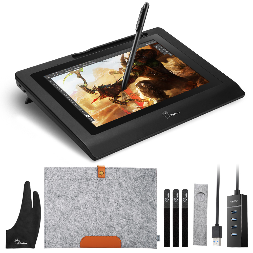 Parblo Coast10 10,1 IPS dibujo gráfico tableta pantalla LCD Monitor + bolígrafo sin batería + guante de dos dedos + bolsa de forro de lana + pezones