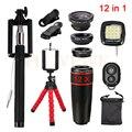 12in1 Lentes kits 12x Telephoto Lenses Fisheye Wide Angle Macro Lens For iPhone HTC Samsung Selfie Remote Tripod Flash Light