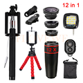 12in1 kits de lentes 12x telefoto lentes fisheye wide angle lens macro para o iphone htc samsung selfie remoto luz do flash tripé
