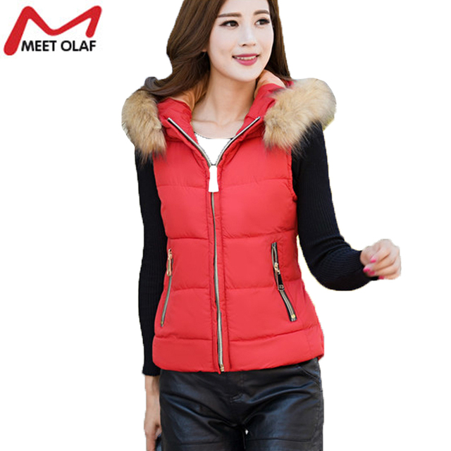 2016 Vest Women Spring Autumn Waistcoats Jacket Hooded Cotton Vests Coat Warm Sleeveless Vests Female Plus Size YL711