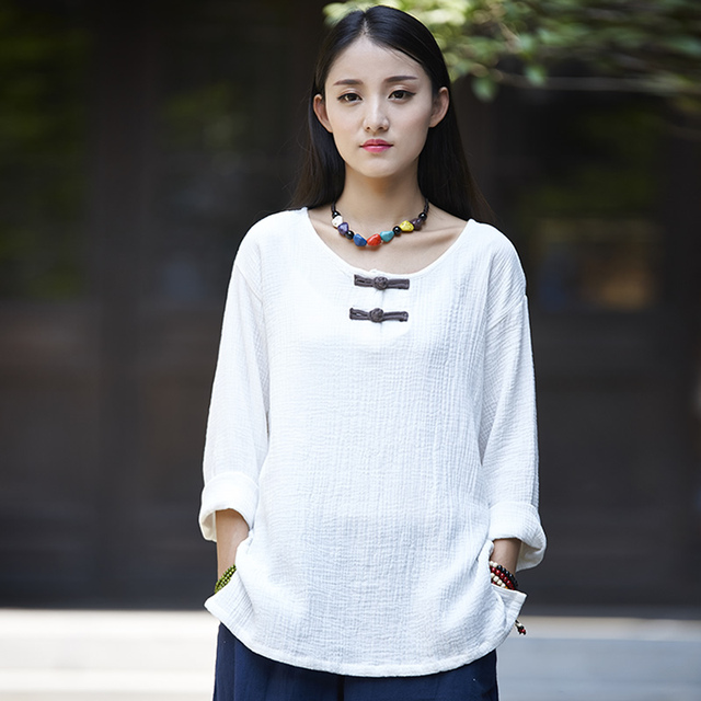 Chinese style O-neck Long sleeve Blouse Shirt Women Autumn Solid Red White Blouse Vintage Linen Original Casual Shirt Tops B142