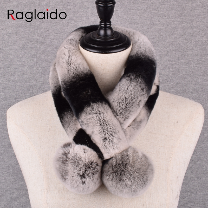 Women's Winter Scarves Fur Solid Real Rabbit Fur Scarfs  Fluffy Girls Warm Soft Ring Neck Warmer 65x10cm LQ07028