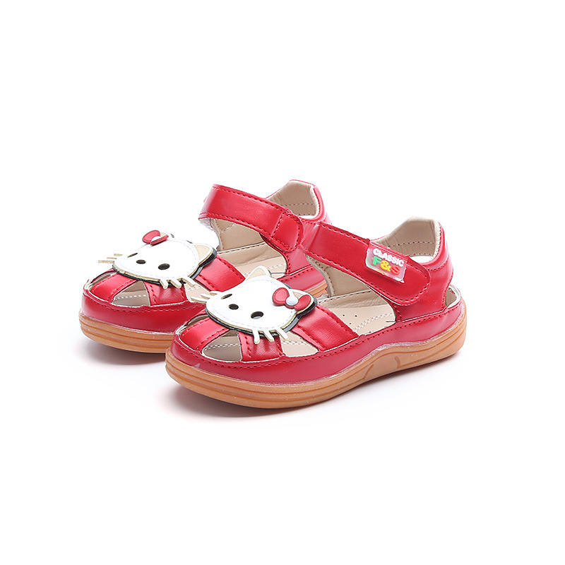 Letnie dziecięce sandały dla dziewczynki Śliczne kotki Skórzane - Obuwie dziecięce - Zdjęcie 3