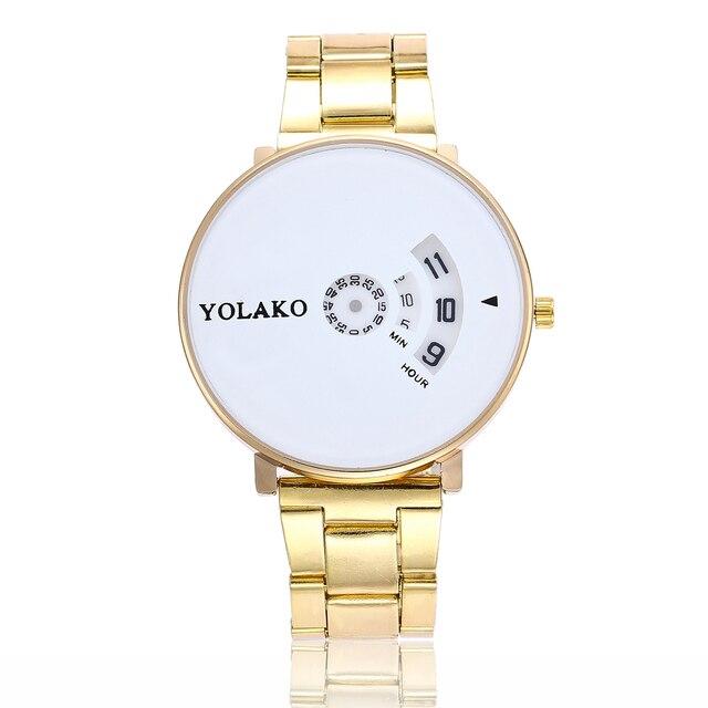 26012e56a42 Dropshipping Mulheres Silver   Gold Criativo Dom Relógio de Quartzo de Aço  Inoxidável Moda Relógios De