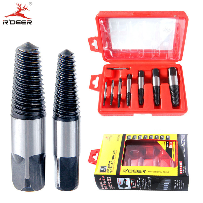купить 8pcs Screw Extractor Damaged 3-50mm Broken Screws Removal Tool Drill Bits Guide Damaged Bolts Remover онлайн
