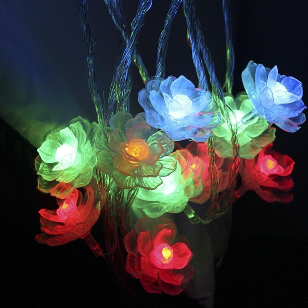20 və ya 40LED İsti Ağ Camellia Batareya LED String Milad - Şənlik aksesuarları - Fotoqrafiya 4