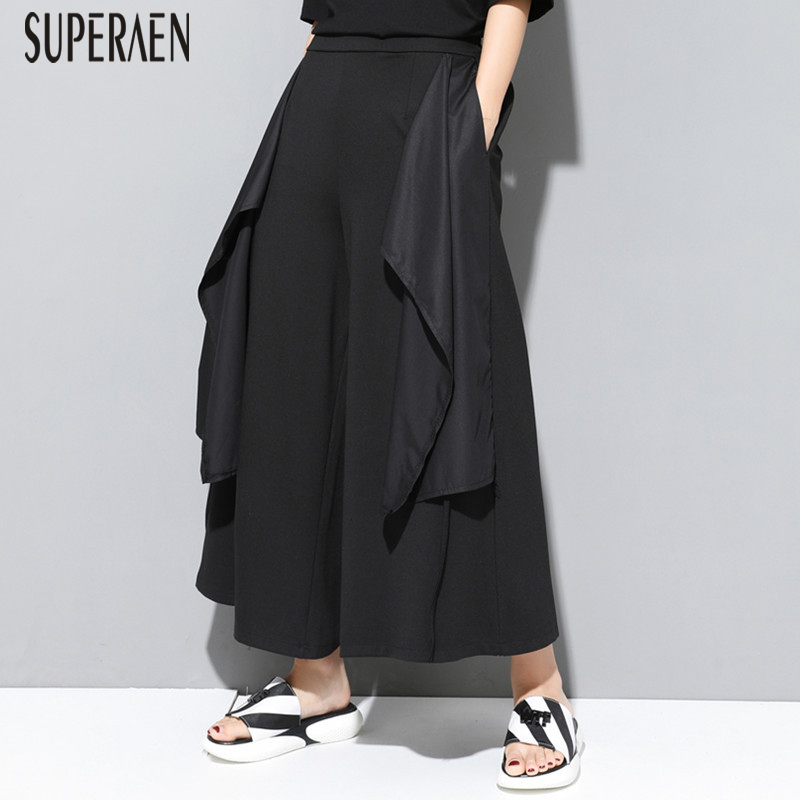 SuperAen 2019 Summer New Women's   Pants   Europe Wild Cotton Casual Ladies   Wide     Leg     Pants   Solid Color Ankle Length   Pants   Female