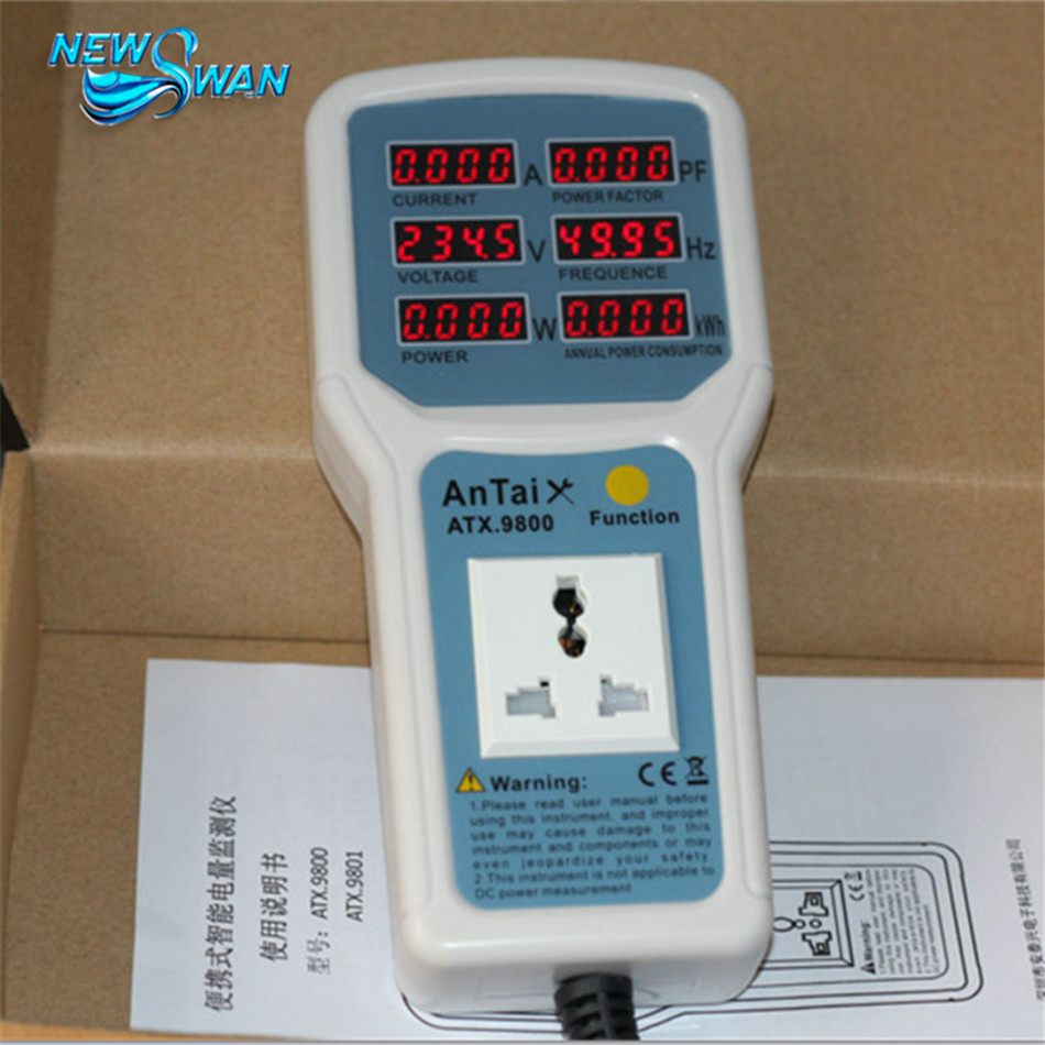 ATX9800 Power Meter 4400W 20A Electric Power Energy Monitor LED Light Tester Socket Watt Meter Analyzer g t power 130a 150a rc watt meter power analyzer digital lcd tester 12v 24v 36v high precision