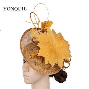 Image 4 - Gorący różowy Millinery Fascinator kapelusz elegancka kobieta z kwiatami i piórami akcesoria do włosów koktajl ślubny kościół chluba noworoczny prezent