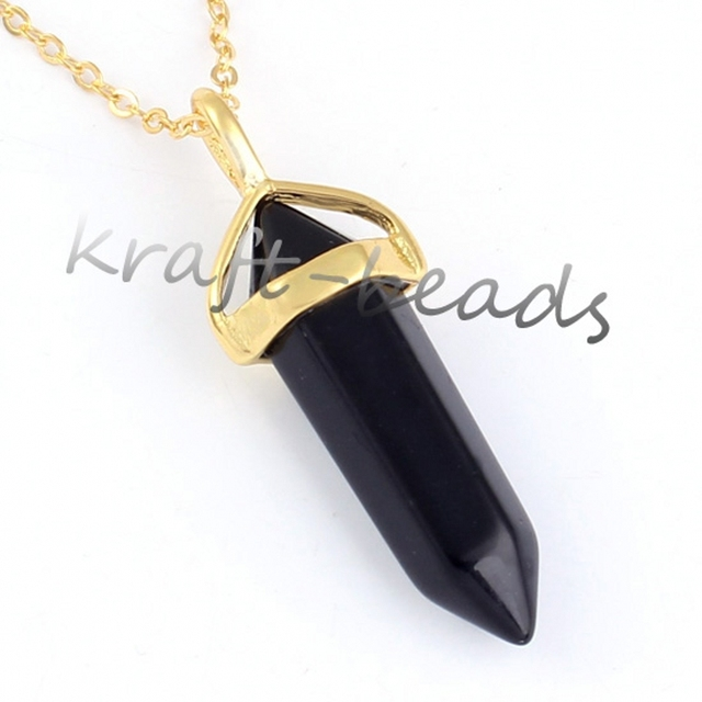 Kraft beads popular light yellow gold color black onyx hexagon prism kraft beads popular light yellow gold color black onyx hexagon prism pendant chain necklace fashion aloadofball Images