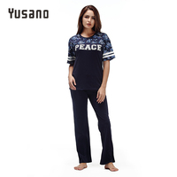 Yusano Summer Pajamas Set Women Pijamas Cotton Pink O-Neck Casual Pyjamas Stripe Short Sleeve Floral Print Sleepwear Kigurumi