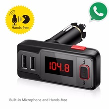 Bluetooth Handsfree Car FM Transmitter MP3 Music Player Dual USB Charger AUX3.5mm Audio Input Support TF Card /U Disk Music Play