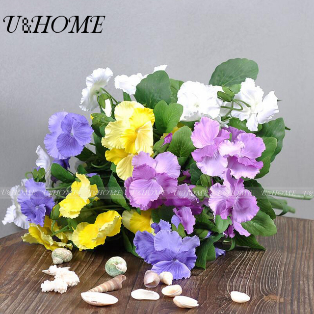 Artificial Silk Pansy Flower Fake Herbs Trinity With Stems High