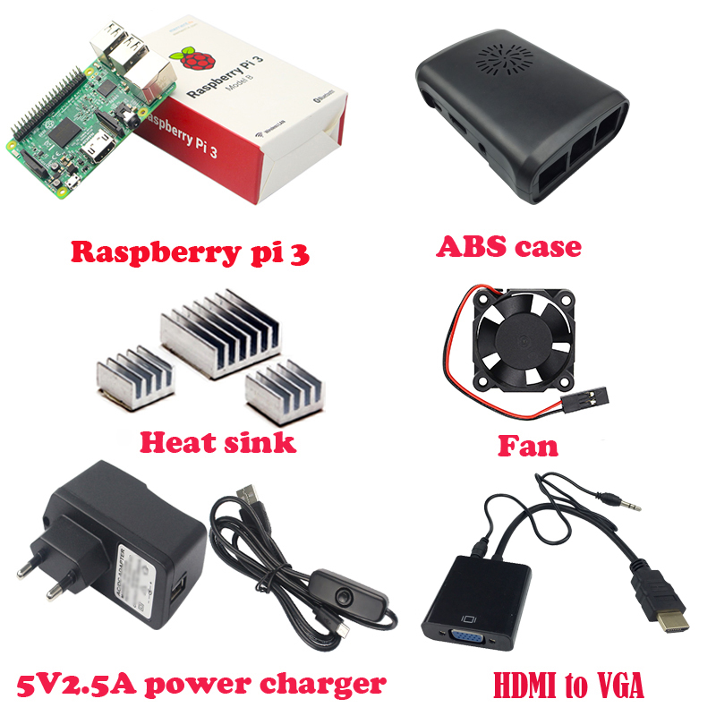 Raspberry Pi 3 Model B+ABS Case+Cooling Fan+3pcs Heat Sink+5V 2.5A Power Supply with Switch+HDMI to VGA Adapter with Audio Cable abs case with cooling fan heatsink removable top cover