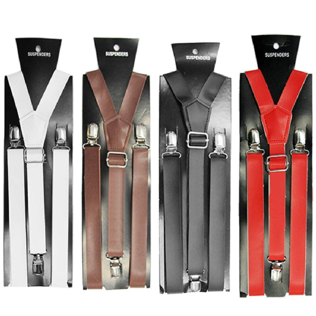 2017 Hot Sale 2.5*100cm Men`s Unisex Clip-on Braces Elastic Slim Suspender Y-Back PU Suspenders