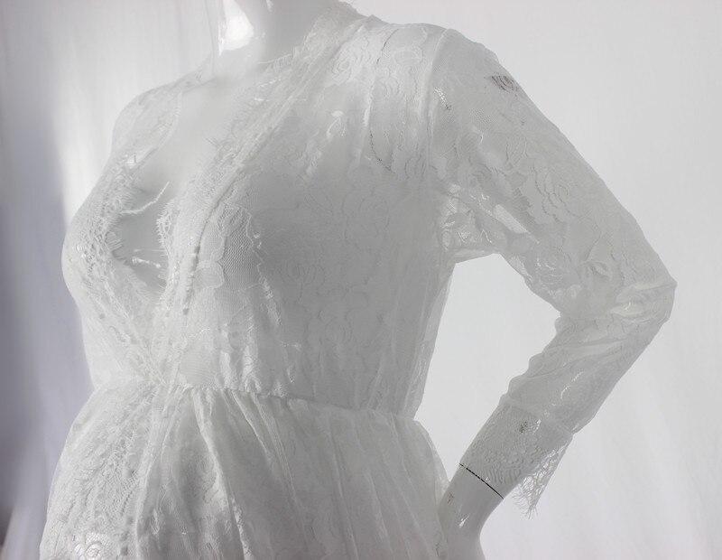 Le Cuplu Off-alb Fotografie de maternitate Props Lace lung rochie - Sarcina și maternitatea - Fotografie 4