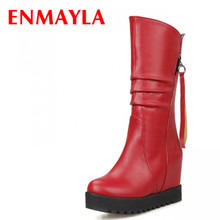 Autumn Boots Fashion Wedge Platform Ladies Winter Black Leather Ankle for Women Shoes Woman Fur Snow
