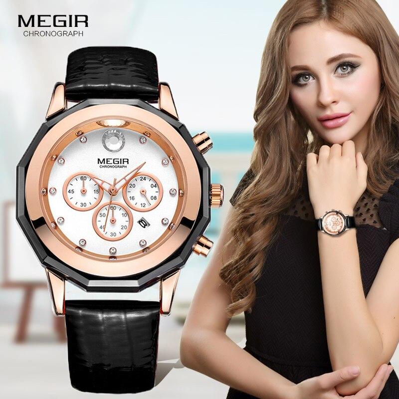 Luxury Brand Women Quartz Watches Woman Chronograph Leather Strap Wrist Watches Chronograph Waterproof Wristwatch clock female