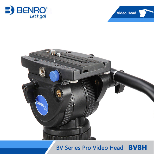 BENRO BV8H Video Head Hydraulic Fluid Video Heads QR13 Quick Release Plate Aluminum Video Head Max Loading 8kg DHL Free Shipping