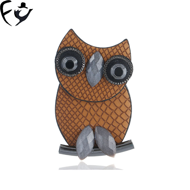 FY Fashion hipster cartoon Korean version of simple leather PU genuine leather owl brooch
