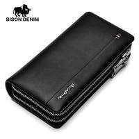 BISON DENIM fashion luxury men wallets genuine leather large capacity long double zipper male clutch purse brand wallet
