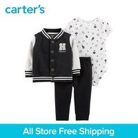 3pcs cute print bodysuit HANDSOME slogan Snap front fleece jacket set Carter's baby boy spring autumn clothing 121I630