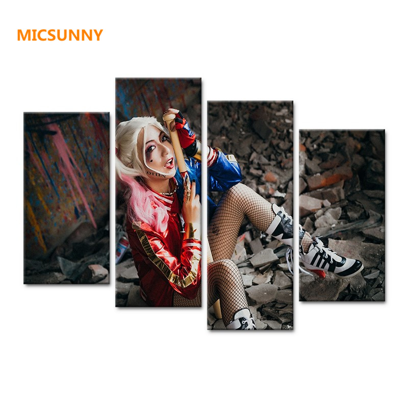 MICSUNNY Girl HD Canvas Prints 5 Pieces Oil Painting Suicide Squad Wall Art Home Decor Panels Sport Poster For Living Room Frame