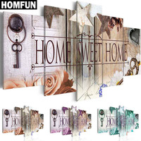 5pcs Full Square Round Drill 5D DIY Diamond Painting Home Sweet Home Multi Picture Combination 3D