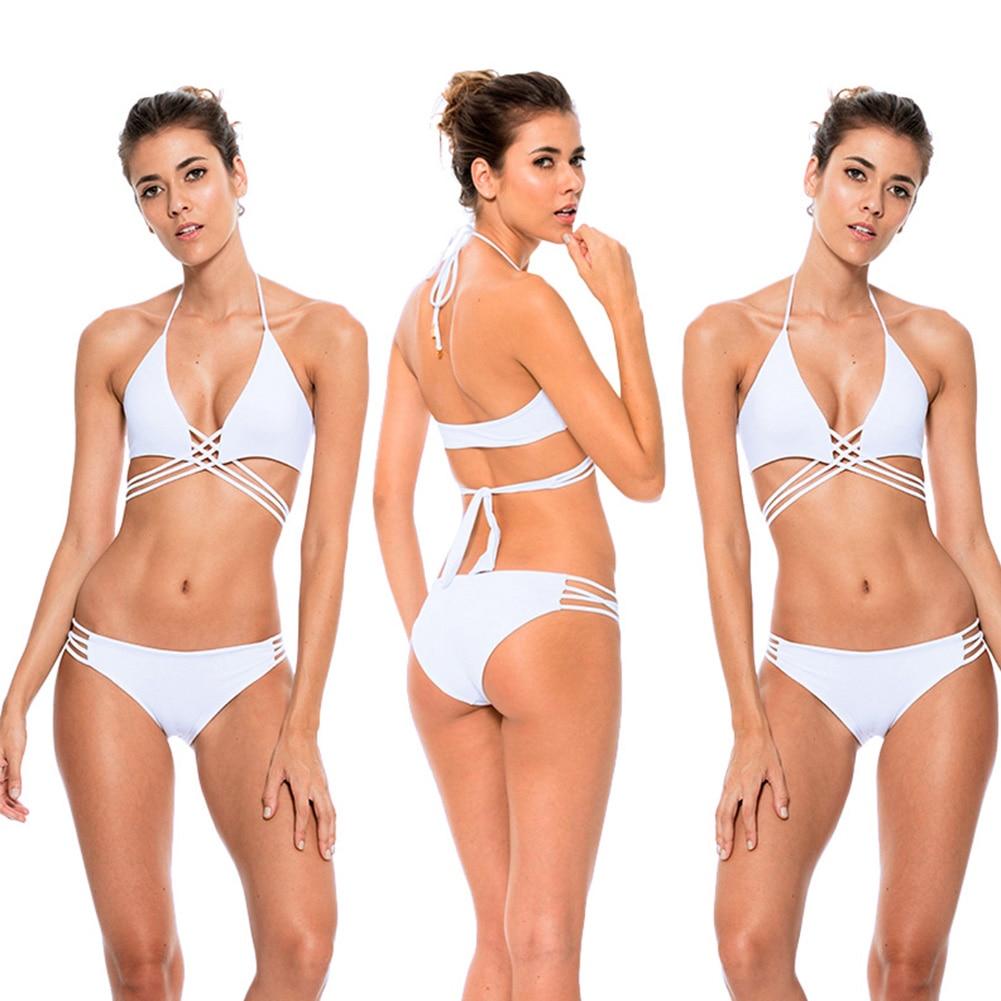 2017 Women Sexy Bikini Set Push up Two piece White Monokini Padded Halter Swimwear Plus Size Bathingsuit New Swimming Suit