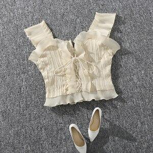 Image 2 - Shintimes 2020 novo verão outono bustier branco preto tanque superior feminino sexy bandagem sem mangas colheita superior zíper mulher roupas