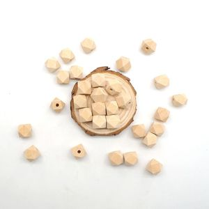 Chenkai 100PCS 12mm Wooden Unfinished Beads Hexagon Geometric Beads Natural beads For DIY Baby Teether Nacklace Accessories