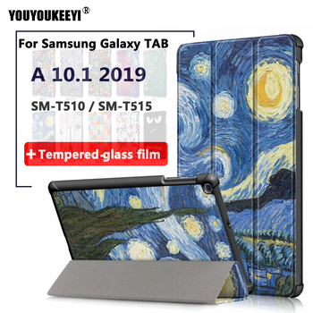 Magnet Smart Case For Samsung Galaxy Tab A 10.1 2019 SM-T510 SM-T515 Tablet Flip Stand Cover Tempered glass film for T510 T515 case for samsung galaxy tab a 10 1 2019 sm t510 sm t515 wi fi lte flip tablet cover pu leather smart magnetic stand shell coque