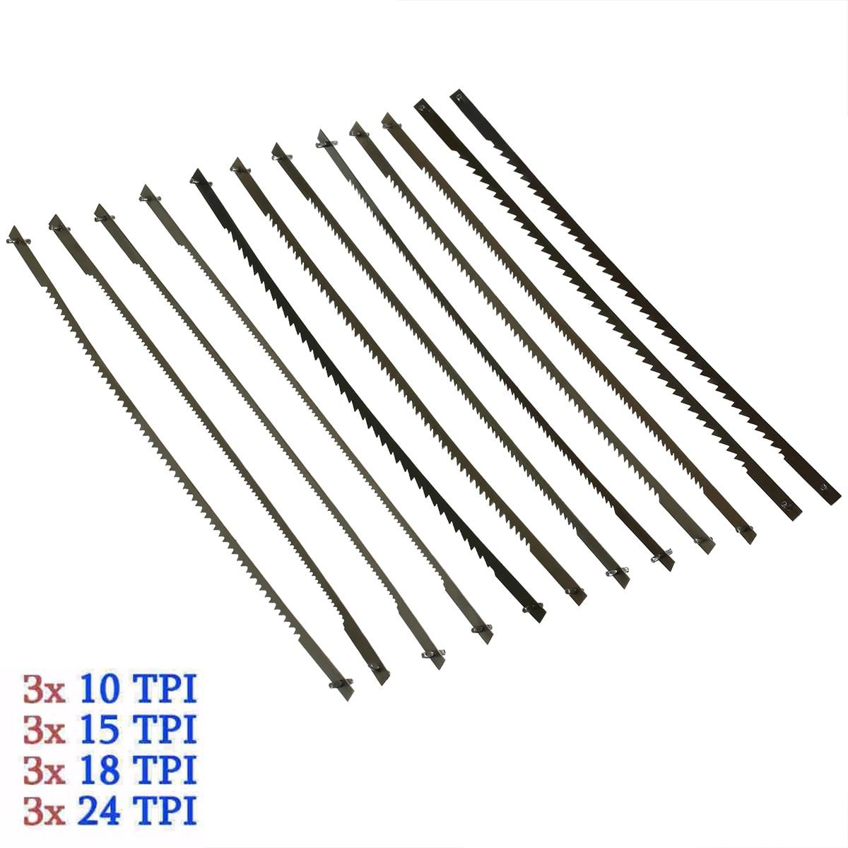 12Pcs Pinned Scroll Saw Blades 10/15/18/24 Teeth Black Woodworking Power Tools Accessories 127mm Mayitr
