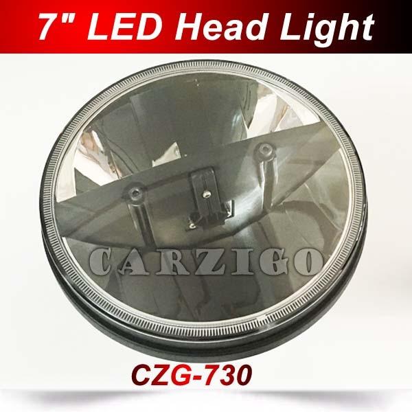 CZG-730 DOT 7 inch round 30w led headlight headlamp 7 led Head light with high low beam E9 mark for harley davison motorcycles czg 5755 55w led high power 5x7 led headlight with hi low beam angel eye for jeep trucks offroad 7 led work head lamps e9 mark
